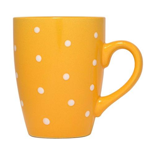 - Polka Dot Mug by Govinda Crafts, Ceramic Coffee Cup 10oz, Cute Mugs for Women and Men, Colored Mugs (Yellow)