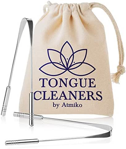 Tongue Scraper Cleaner (2 Pack) Medical Grade Stainless Steel Metal Tongue Brush Dental Kit Eliminate Bad Breath with Tongue Sweeper Ayurvedic for Daily Oral Dental Hygiene Fresh Breath and Health