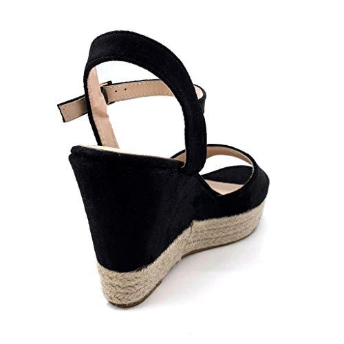 Confortable Cm Talon 10 Basique Chaussure Espadrille Femme Noir Angkorly Corde Simple Compensé Sandale Ouverte Classique Mode 6PxwX