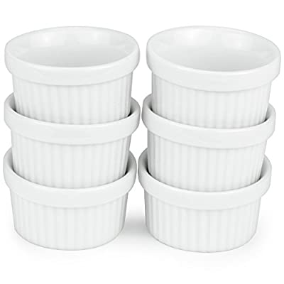 6 Pack of Mini Ramekins - 1 oz. / 30 ml Porcelain Souffle Dish, Dipping Sauce, & Small Dessert Cups Set, Microwave & Oven Safe by Kÿchen
