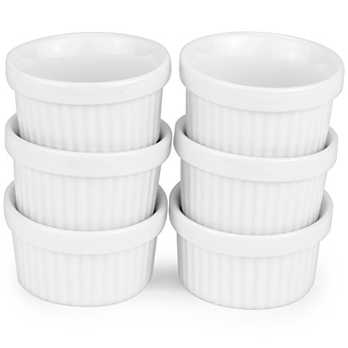 6 Pack of Mini Ramekins - 1 oz. / 30 ml Porcelain Souffle Dish, Dipping Sauce, Small Dessert Cups Set, Microwave & Oven Safe by - Cup Set Dessert
