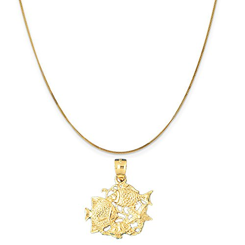 14k Yellow Gold Tropical Fish, Coral,and Starfish Pendant on a 14K Yellow Gold Curb Chain Necklace, 16'' by Eaton Creek Collection