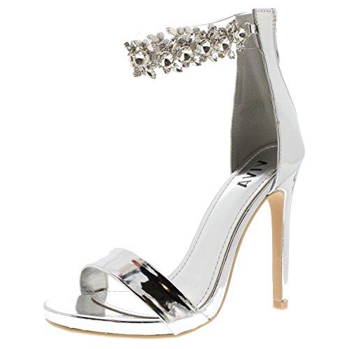 Tacones Tobillo Noche Diamante Viva Altos Metálica Plata Fiesta Correa Sandalias Mujer Zapatos De U1q81