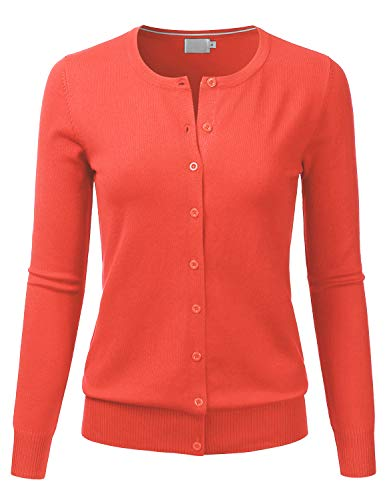 LALABEE Women's Crewneck Long Sleeve Button Down Knit Cardigan Sweater
