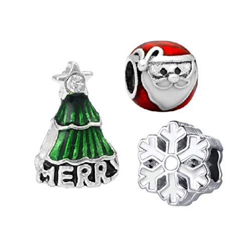 (J&M Set of 3 Christmas Charm Beads for Bracelets)
