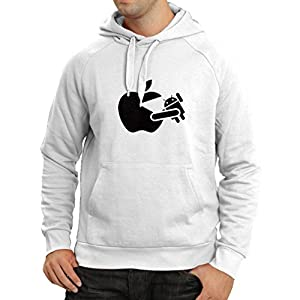 Hoodie Funny Apple Eating a Robot - Gift For Tech Fans (XX-Large White Black)