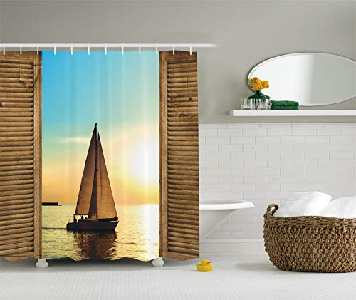 Ambesonne Sea Life Nautical Beach Ocean Decor Shower Curtain, Sailboats in Scenic Sunset by Wooden Window Frames, Polyester Fabric Bathroom Decor Set with Hooks, 75 Inches Long, Yellow and Blue