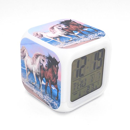 EGS New White Brown Horse Animal Digital Alarm Clock Desk Table Led Alarm Clock Creative Personalized Multifunctional Battery Alarm Clock Special Toy Gift for Unisex Kids Adults (Alarm Clock Creative)