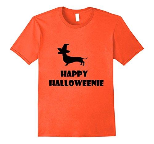 Mens Happy Halloweenie T-Shirt Dachshund Halloween Weiner Dog Tee Large (Funny Weiner Dog Halloween Costumes)
