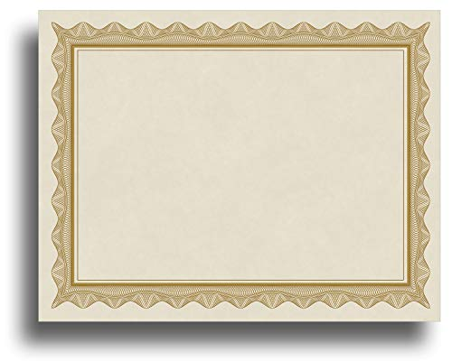 Blank Parchment Certificate Paper for Awards - Works with Inkjet/Laser Printers - Measures 8 1/2