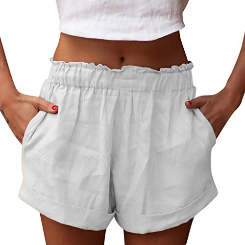 Botrong Women Fashion Mid Waisted Shorts with Pocket Ruffled Summer Shorts Pants (White,M) ()