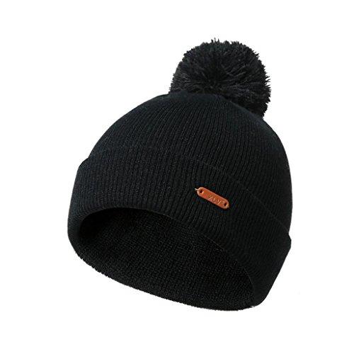 PIKAqiu33_Unisex Hat Winter Autumn Wool Knit Hat Strap Slouchy Beanie Snow Cap (Black)