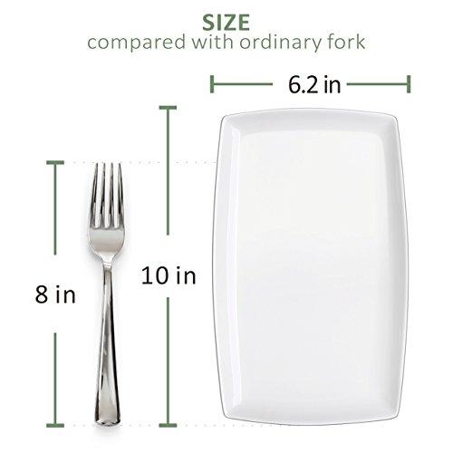 DOWAN 10-inch Porcelain Serving Platter/Rectangular Plates, Set of 4, White by DOWAN (Image #2)
