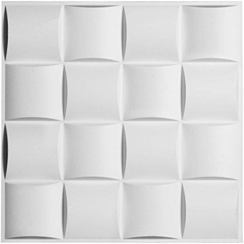 Ekena Millwork WP20X20BAWH Baile Design Decorative 3D Wall Panel, White ()