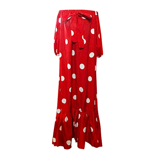Huifa 2019 Stylish Women Polka Dot Printed Dress Cold Shoulder Lace Ruffle Bow Gown (Red,XXXL)