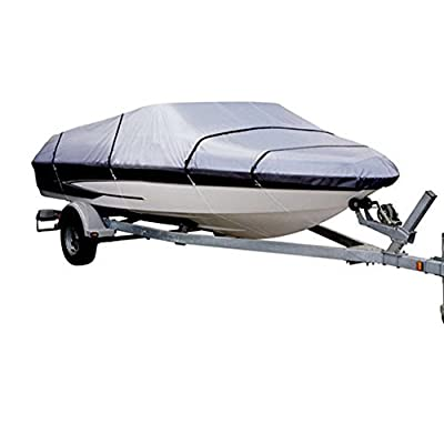 LEADALLWAY Heavy Duty 210D Oxford Polyester Canvas All Seasons Waterproof Trailerable Boat Cover Fits Silver V-Hul Runabouts and Fishing Ski Boat Covers
