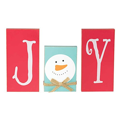 (Dicksons Joy Snowman Winter Blue 7.75 x 12 Wood Christmas Tabletop Plaques, Set of 3 )