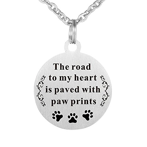 Kisseason Stainless Steel Dog Cat Pet Animal Lover Paw Print Gift Jewelry Keychain Dog Tag Pendant Necklace (The Road to My Heart is Paved with Paw Prints)