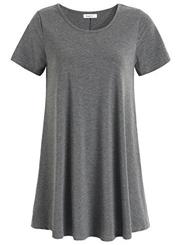 Esenchel Women's Tunic Top Casual T Shirt for Leggings S Deep Gray