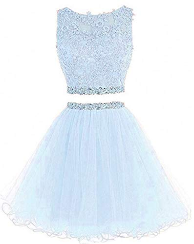 Dydsz Short Prom Dress Homecoming Party Dresses Juniors 2 Piece Beaded A Line Cocktail Gown D127 Lightblue 10