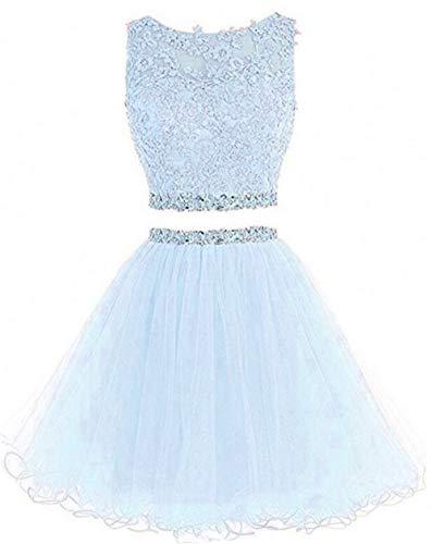 (Dydsz Short Prom Dress Homecoming Party Dresses Juniors 2 Piece Beaded A Line Cocktail Gown D127 Lightblue 2)
