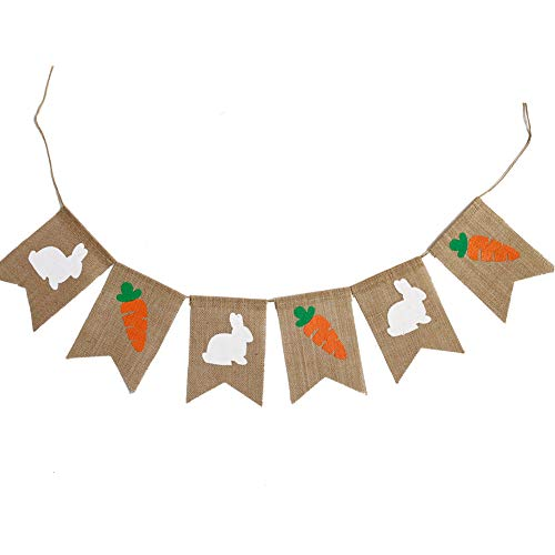 Bunny Mini Flag - oremila Bunny Banner, Cute Burlap Banners with Bunny and Carrot Bunting Garland Flags Banner for Home/Baby Birthday Party Decor/Photo Props and Backdrop (Rabbit and Carrot)