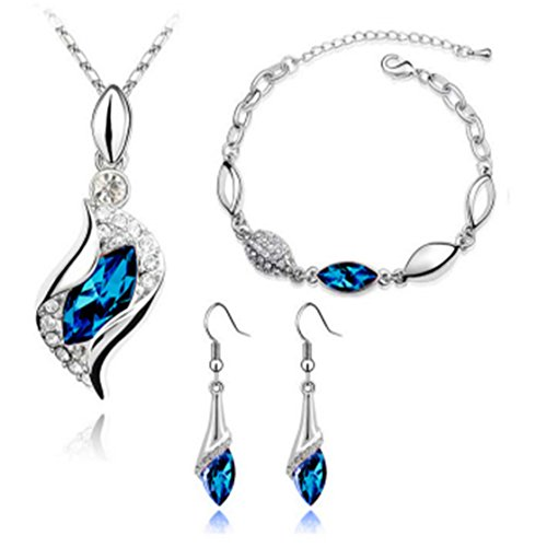 ULAKY Austrian Crystal Necklace Earring and Bracelet Set Teardrop Jewelry Set