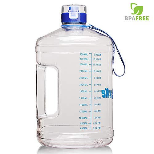 SIuxKe 1 Gallon Big Water Bottle Motivational Fitness Workout with Daily Time Marker| Reusable Leak-Proof | Clear BPA-Free Water Jug | for Indoor Outdoor Camping Hiking Gym Running 128OZ/74OZ Capacity