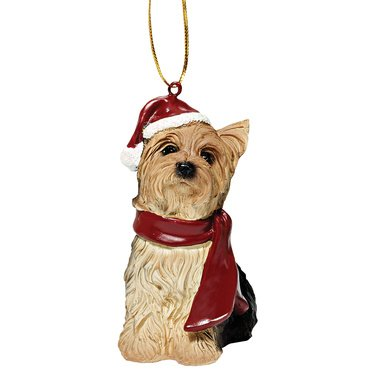 (Yorkshire Terrier Holiday Dog Ornament Sculpture)