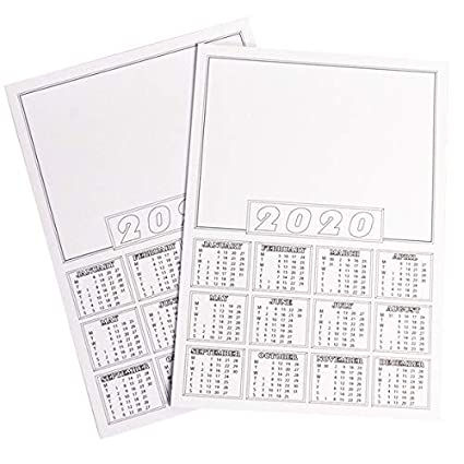 Calendrier 2020 Vierge.Calendrier 2020 Format A4 Vierges Mini Calendrier Blanc