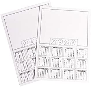 Planificador de calendario 2020, tamaño A4, color blanco