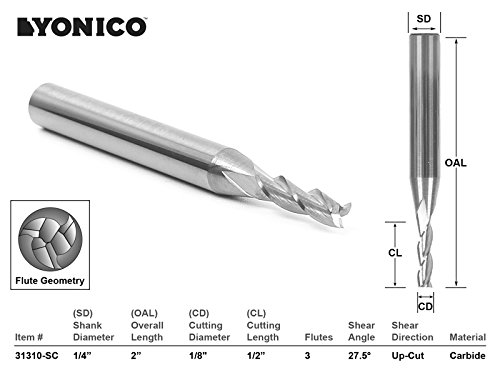 (Yonico 31310-SC CNC Router Bit Up Cut Solid Carbide with 1/4