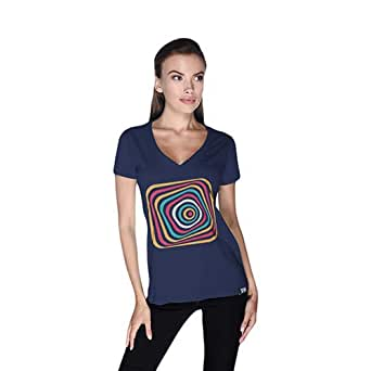 Creo Abstract 03 Retro T-Shirt For Women - Xl, Navy Blue