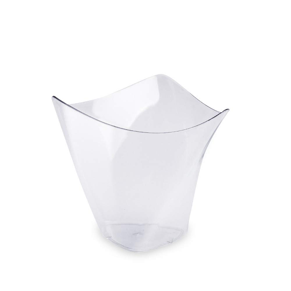 100Pcs/set Dessert Cups Mini Cubes Clear Tasting Sample Glass Containers Elegant Square Plastic Bowls Disposable Three eyes