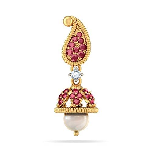 18K Or jaune 0.12CT TW White-diamond (IJ | SI) et rubis et blanc cassé Perle Boucles d'oreilles