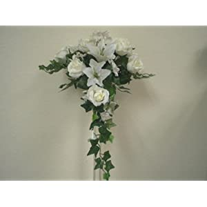 """CREAM WHITE Rose Lily Silk Flowers Bridal Bouquet w/14"""" Tail Wedding Artificial 61"""