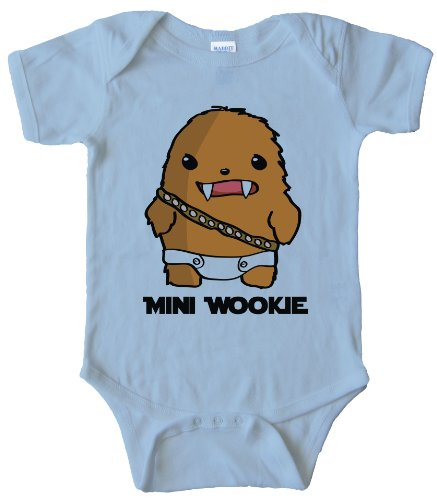 Mini Wookie Baby Chewbacca - ONESIE - Light Blue NEW BORN ()