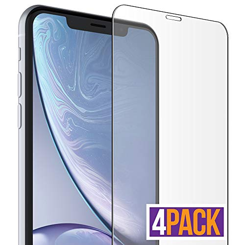 FlexGear iPhone XR Glass Screen Protector [Coverage+] HD Clear, Designed for iPhone XR (4-Pack)