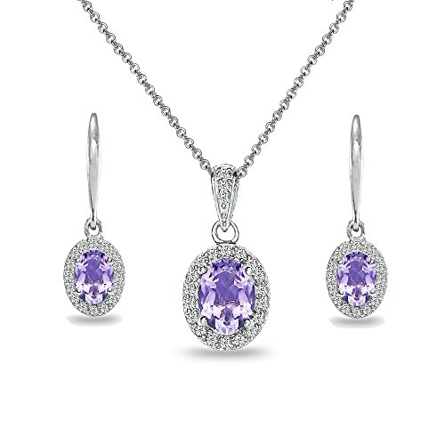 Sterling Silver Amethyst & White Topaz Oval Halo Necklace & Leverback Earrings Set