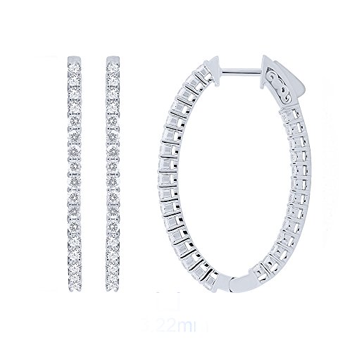 Earring For Women Sterling Silver Prong Set Hoop Omega Huggie Back Earring (2.00cttw, Cubic Zirconia - Price Store Best In India
