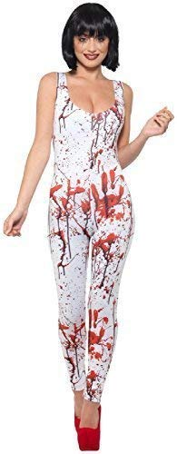 Ladies Sexy White Blood Splatter Stained Zombie Apocalypse Halloween Fancy Dress Costume Outfit (UK 12-14 (EU 40/42)) -