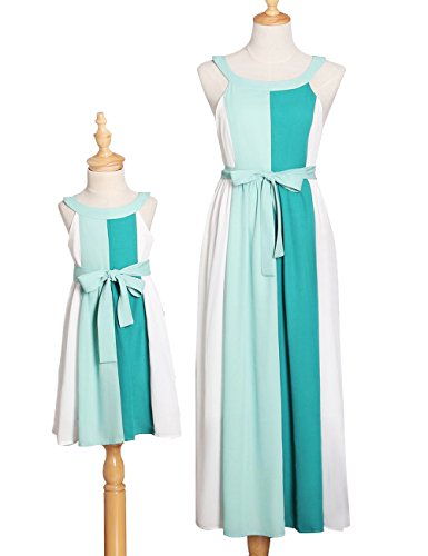 BubbleKiss Kid Girl Sweet Cute Dress Sleeveless Halter Bowknot Colorblock Patchwork Summer Beach Maxi Dress (Halloween Party November 1)