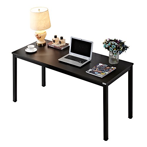 Auxley Computer 55 Inch Modern Simple Writing Desk for Home Double Deck Wood and Metal Office Table, 55