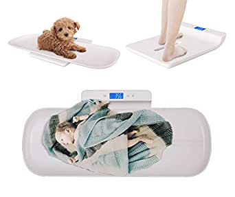 Kazetec Pet Scale, Baby Scale, Multi-Function Digital Scale Measure Toddler/Adult/Puppy/Cat/Dog Weight(Max:220lb) and Height(Max:70cm) Accurately, Precision at +- 10g, KG/LB/OZ, Blue Backlight