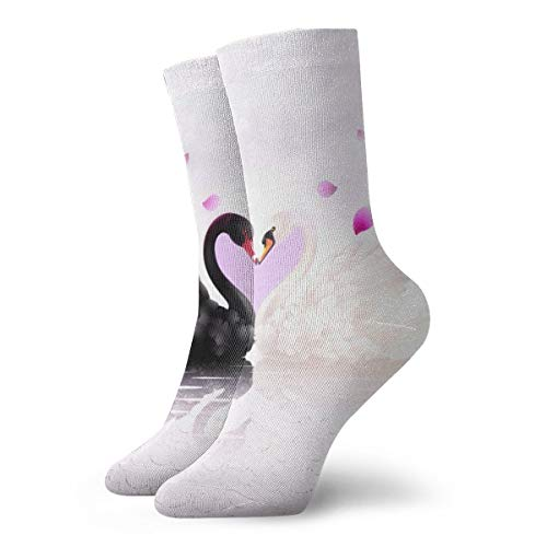 YUANSHAN Socks Black and White Swans Heart Women & Men Socks Soccer Sock Sport Tube Stockings Length 11.8Inch]()