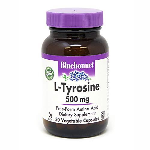 Bluebonnet L-Tyrosine 500 mg Vitamin Capsules, 50 Count