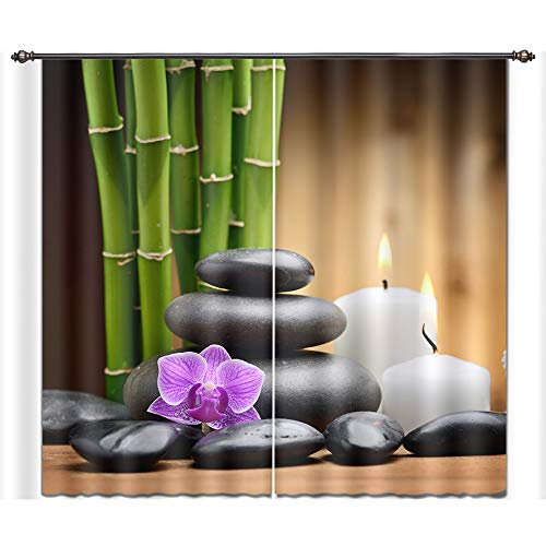 - LB Spa Window Curtains for Living Room Bedroom,Orchid Bamboo and Massage Stones in Zen Garden Window Treatment Decorative 3D Blackout Curtains Drapes 2 Panels,28 by 65 inch Length