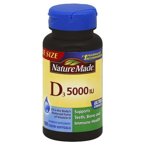 Nature Made Vitamin D3 5000 IU,180 Softgels by Nature Made (Nature Made Vitamin D3 5000 Iu compare prices)