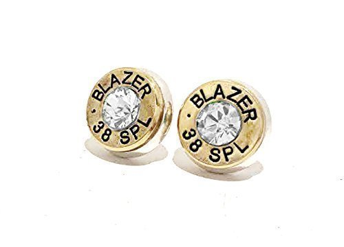 Bullet Jewelry Earrings Pierced Stud 38 Special Gun Ammo Sterling Silver Back Hypo Allergenic Post ()
