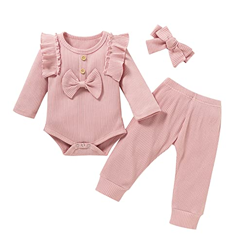 fall baby girl clothes 0-3 months 0-6 3-6 months newborn pink long sleeve pants winter ribbed onesies rompers outfits clothing set